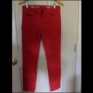 Madewell- Red super skinny jeans Size 27
